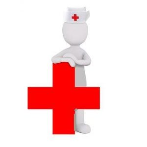 nurse leaning on red-cross health symbol