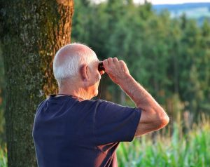 senior man keeping active and looking into binoculars in nature