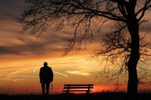 elderly man watching sunset